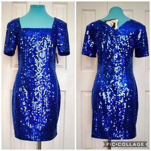 Rare Vintage 80s Sapphire sequin dress